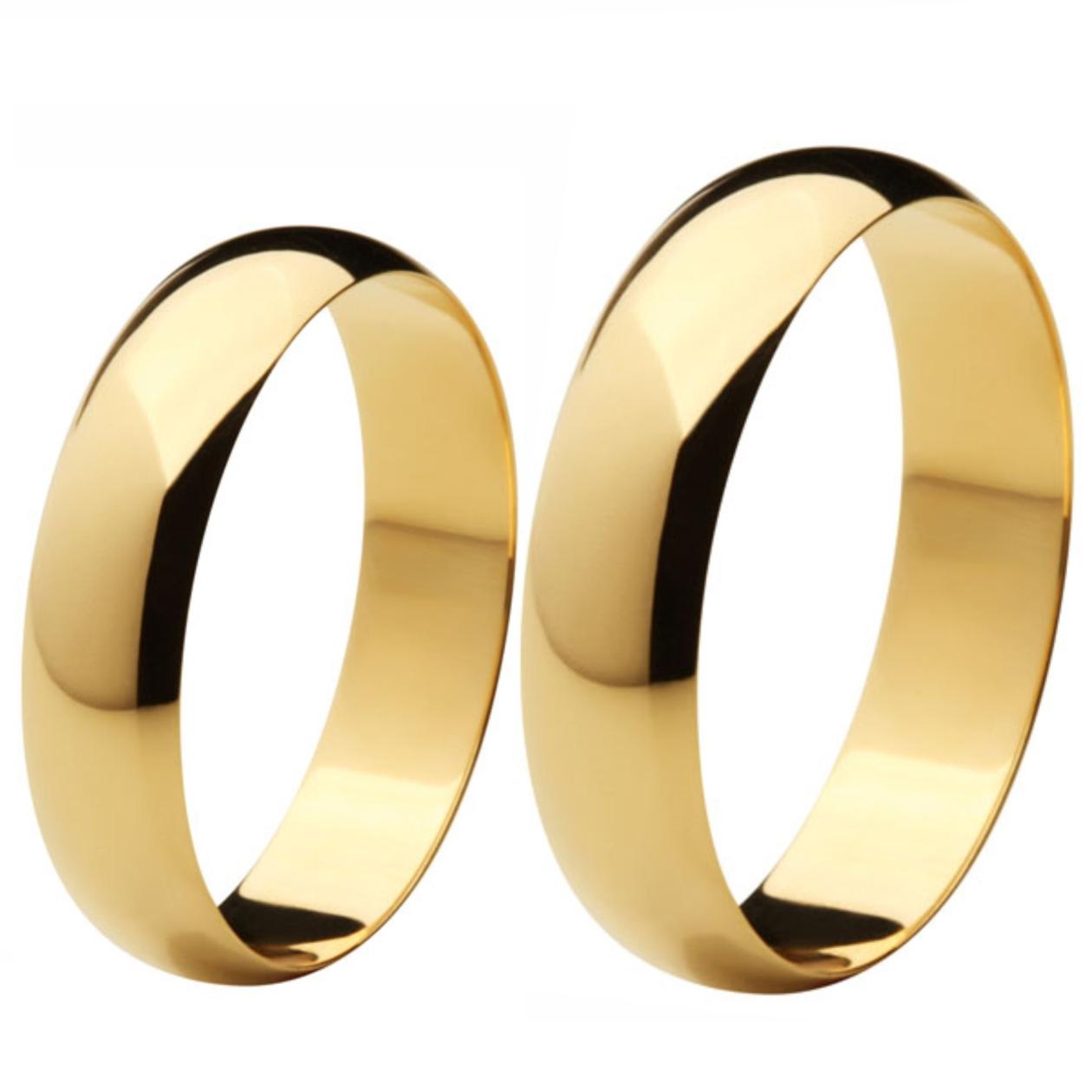 Aliança de Casamento de Ouro 18k / 750, Abaulada - O PAR