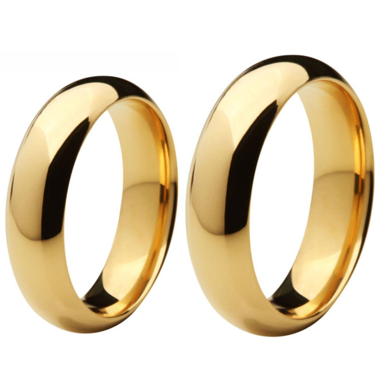 Aliança de Casamento de Ouro 18k / 750, Anatômica e Abaulada - O PAR