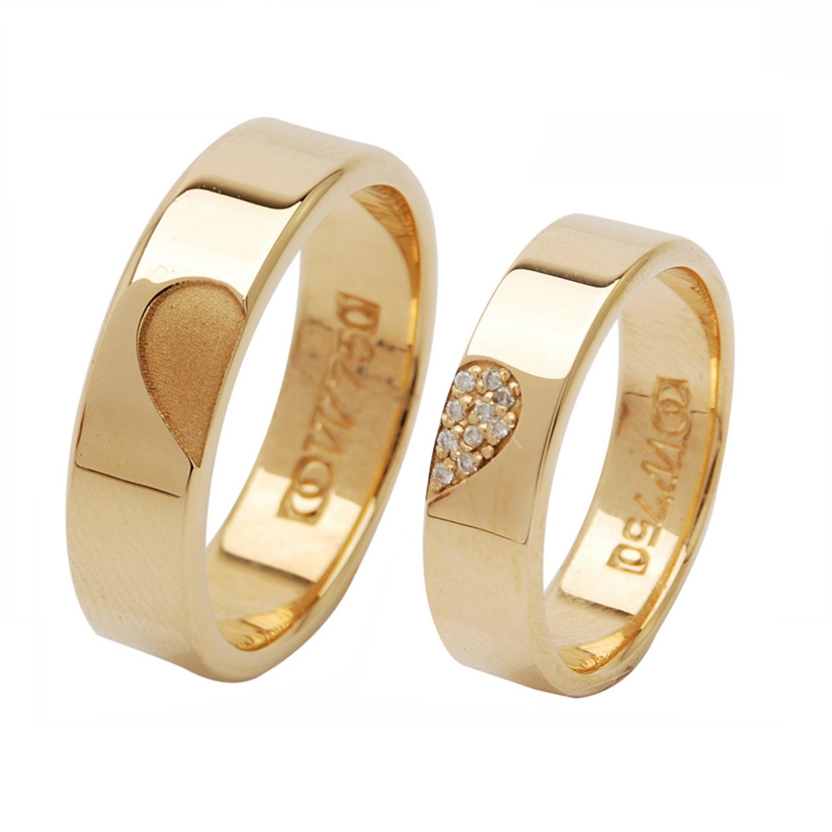 Aliança de Casamento de Ouro 18k / 750, Reta e Anatômica- O PAR