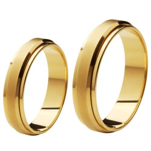 Aliança de Casamento de Ouro 18k / 750, Reta , Gira no meio - O PAR