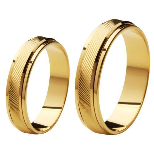 Aliança de Casamento de Ouro 18k / 750, Reta, Gira no meio - O PAR