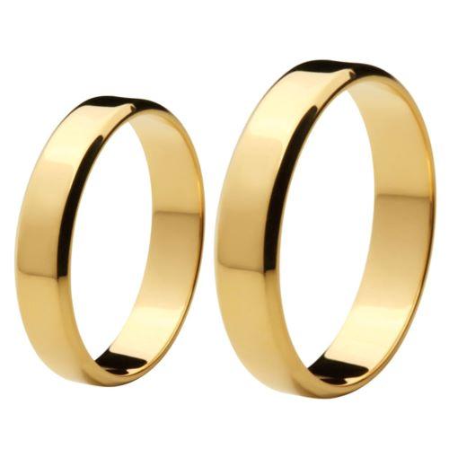Aliança de Casamento de Ouro 18k / 750, Reta - O PAR