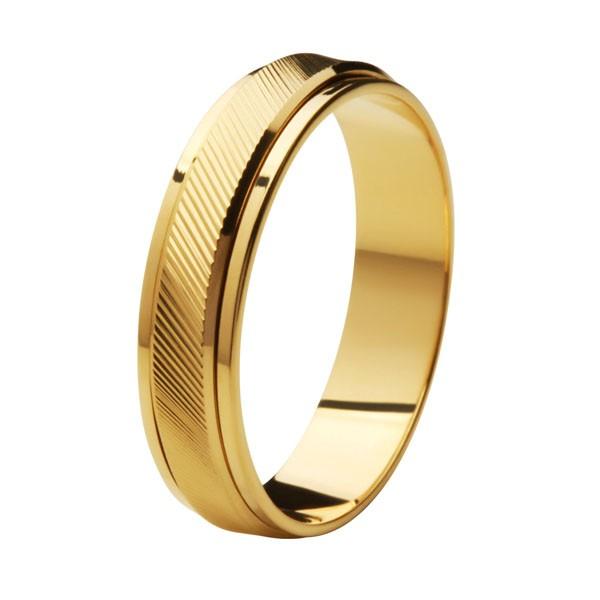 Aliança de Casamento de Ouro 18k / 750, Reta, Gira no meio