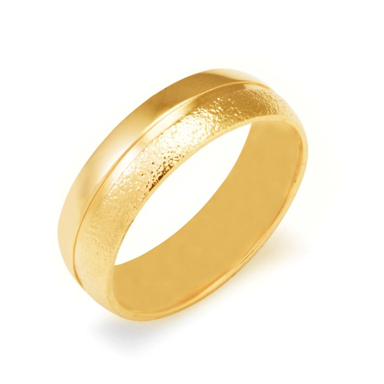 Aliança de Prata com banho de Ouro, Abaulada com Friso Central, 1 faixa Jateada