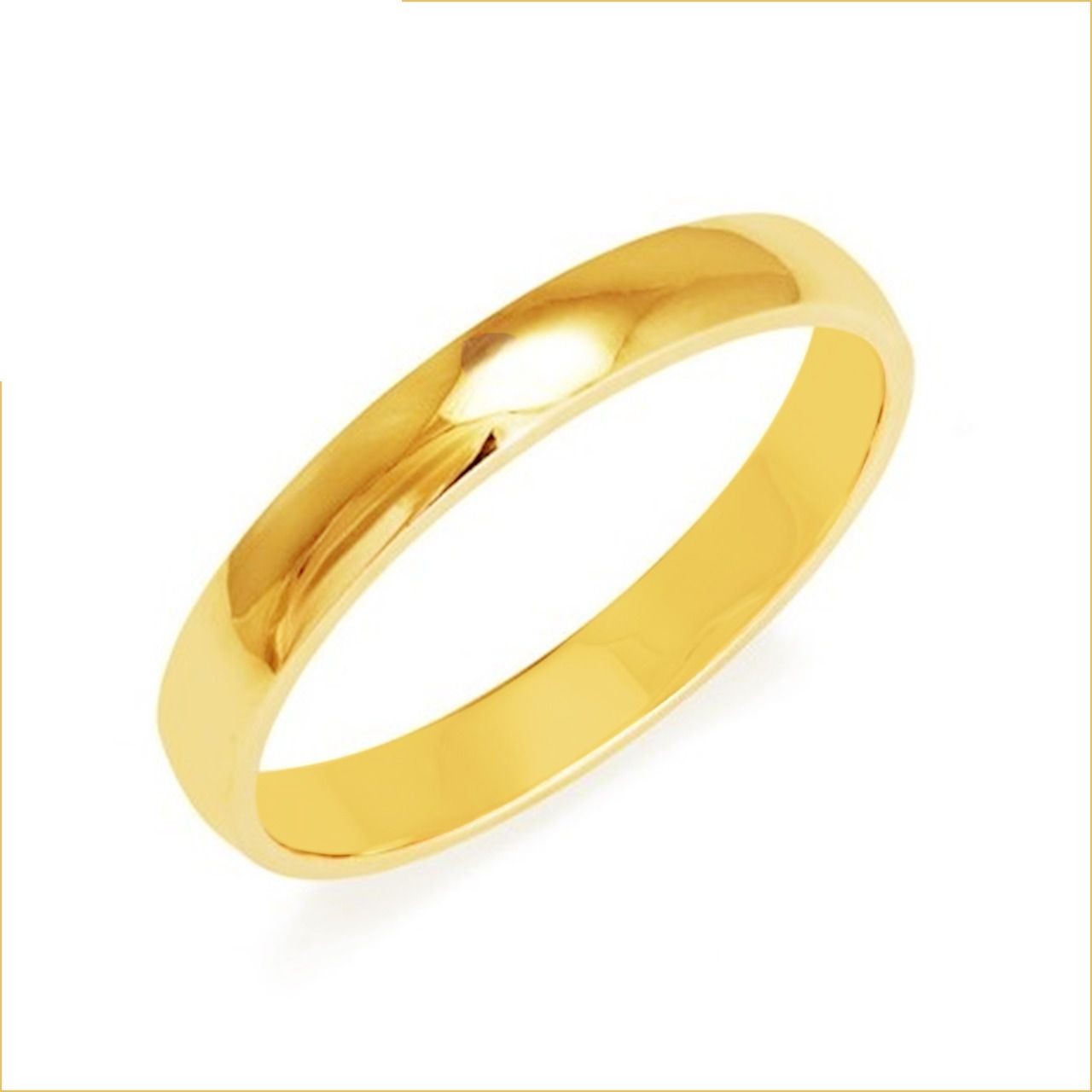 Aliança de Prata com banho de Ouro, Fina e Abaulada
