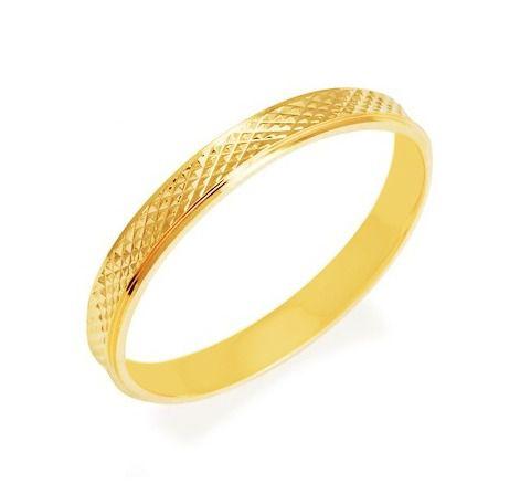 Aliança de Prata com banho de Ouro, Fina, Reta e Diamantada