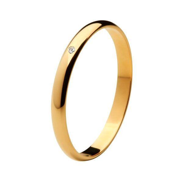 Aliança Tradicional de Ouro 18k / 750 - Abaulada com Diamante