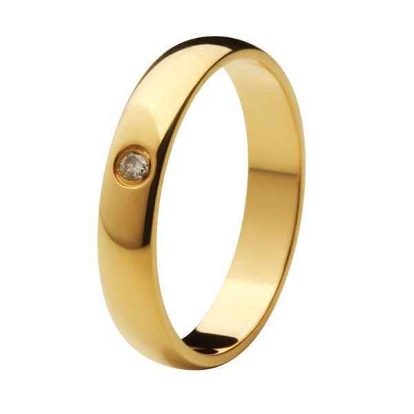 Aliança Tradicional de Ouro 18k / 750 - Abaulada, Polida, com Diamante
