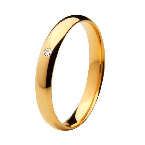 Aliança Tradicional de Ouro 18k / 750 - Anatômica e Abaulada Com Diamante