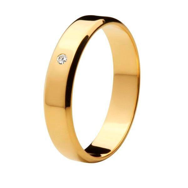 Aliança Tradicional de Ouro 18k / 750 - Reta com Cantos Cortados e Diamante