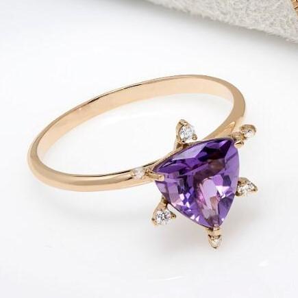 Anel de Ouro Rosê, Com Ametista e Diamantes
