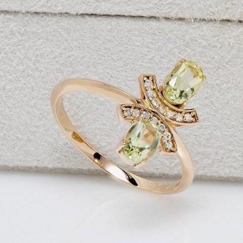 Anel de Ouro Rosê, Com Quartzo Green Gold e Diamantes