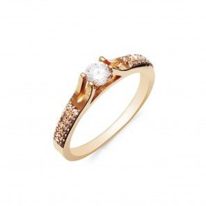 Anél Solitário de Diamante 23 Pontos e Ouro 18k  (Branco ou Amarelo)