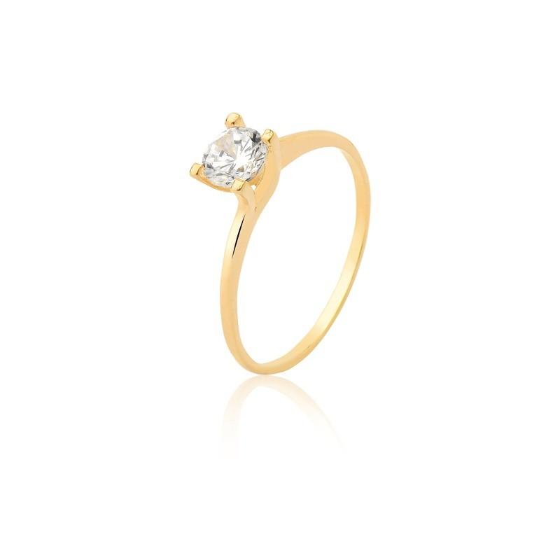 Anél Solitário Tradicional de Diamante 23 Pontos e Ouro 18k  (Branco ou Amarelo)