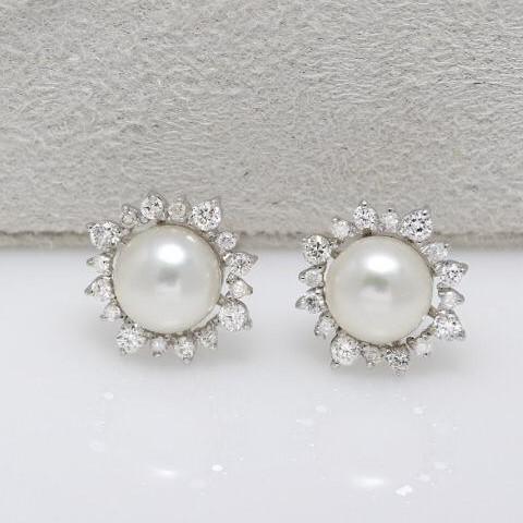 Brinco de Ouro Branco, Pérolas e Diamantes