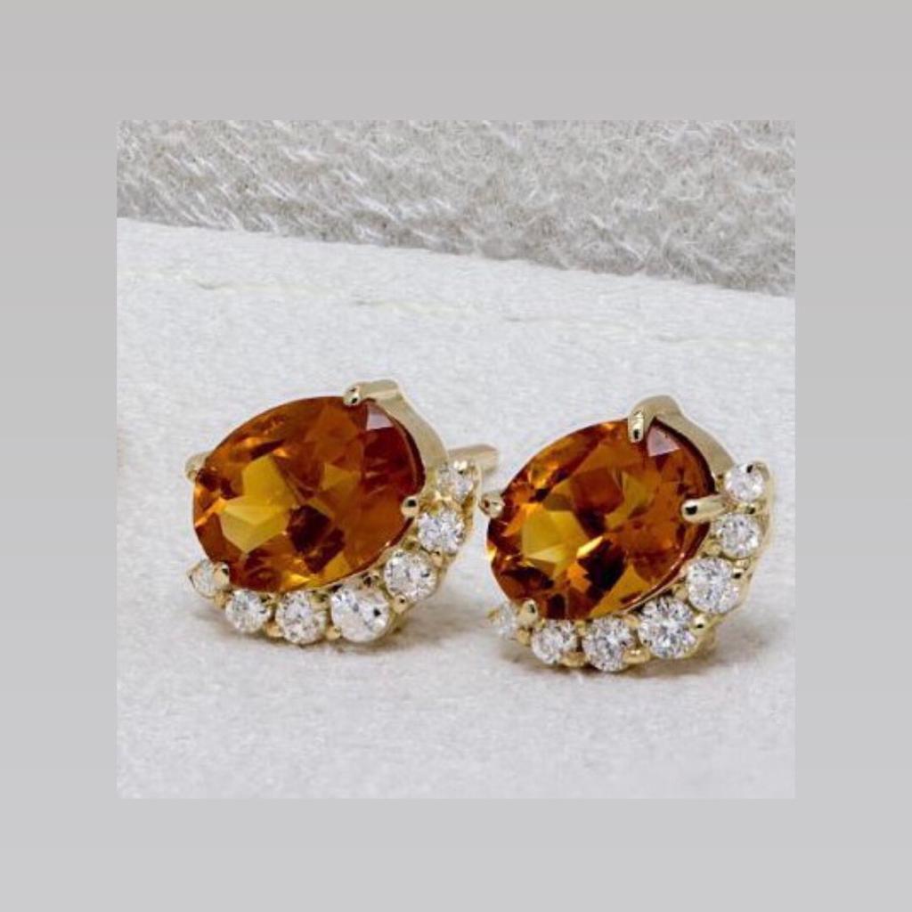 Brinco de Ouro 18k, com Topázio Imperial e Diamantes