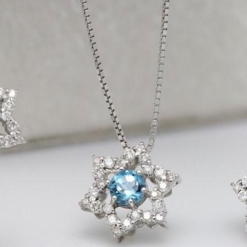 Colar de Ouro Branco, com Topázio Swiss e Diamantes