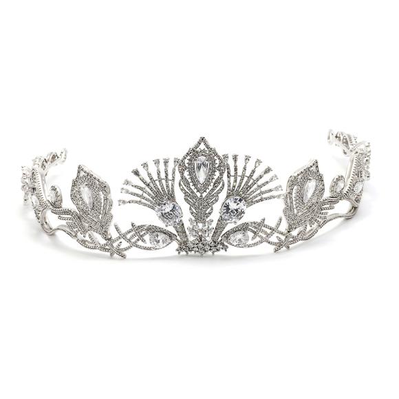 Coroa para Noivas, Banhada a Ródio (Ouro Branco), com Microcravação de Zircônias - Coroa Annecy