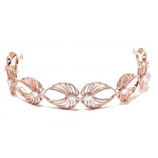 Tiara para Noivas, Banhada a Ouro Rosê, Cravejada de Zircônias - Tiara Ester