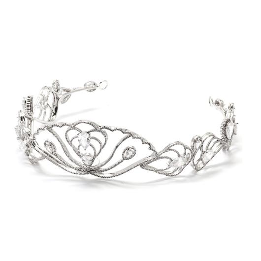 Coroa para Noivas, Banhada a Ródio (Ouro Branco), com Microcravação de Zircônias - Coroa Lille