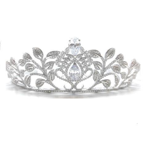 Coroa para Noivas, de Prata 925, Banhada a Ródio (Ouro Branco), com Microcravação de Zircônias - Coroa Malbork