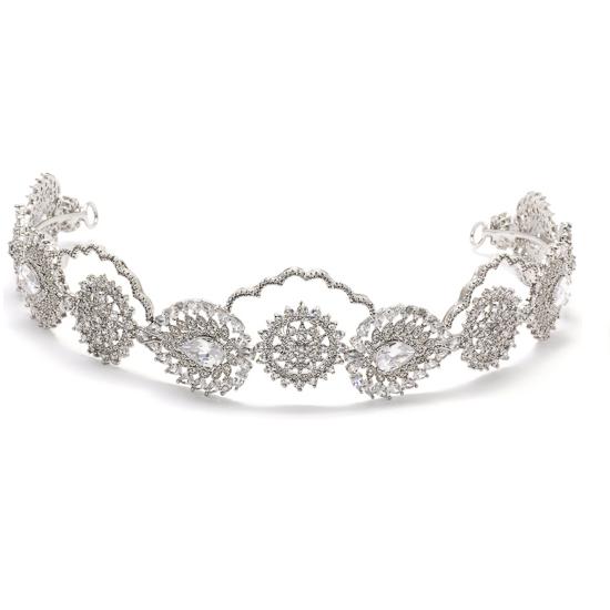 Coroa para Noivas, Banhada a Ródio (Ouro Branco), Cravejada com Zircônias - Coroa Metz