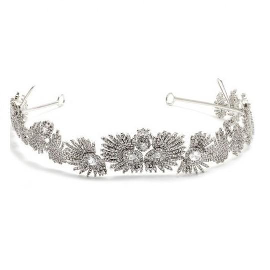 Coroa para Noivas, Banhada a Ródio (Ouro Branco), com Microcravação de Zircônias - Coroa Mônaco