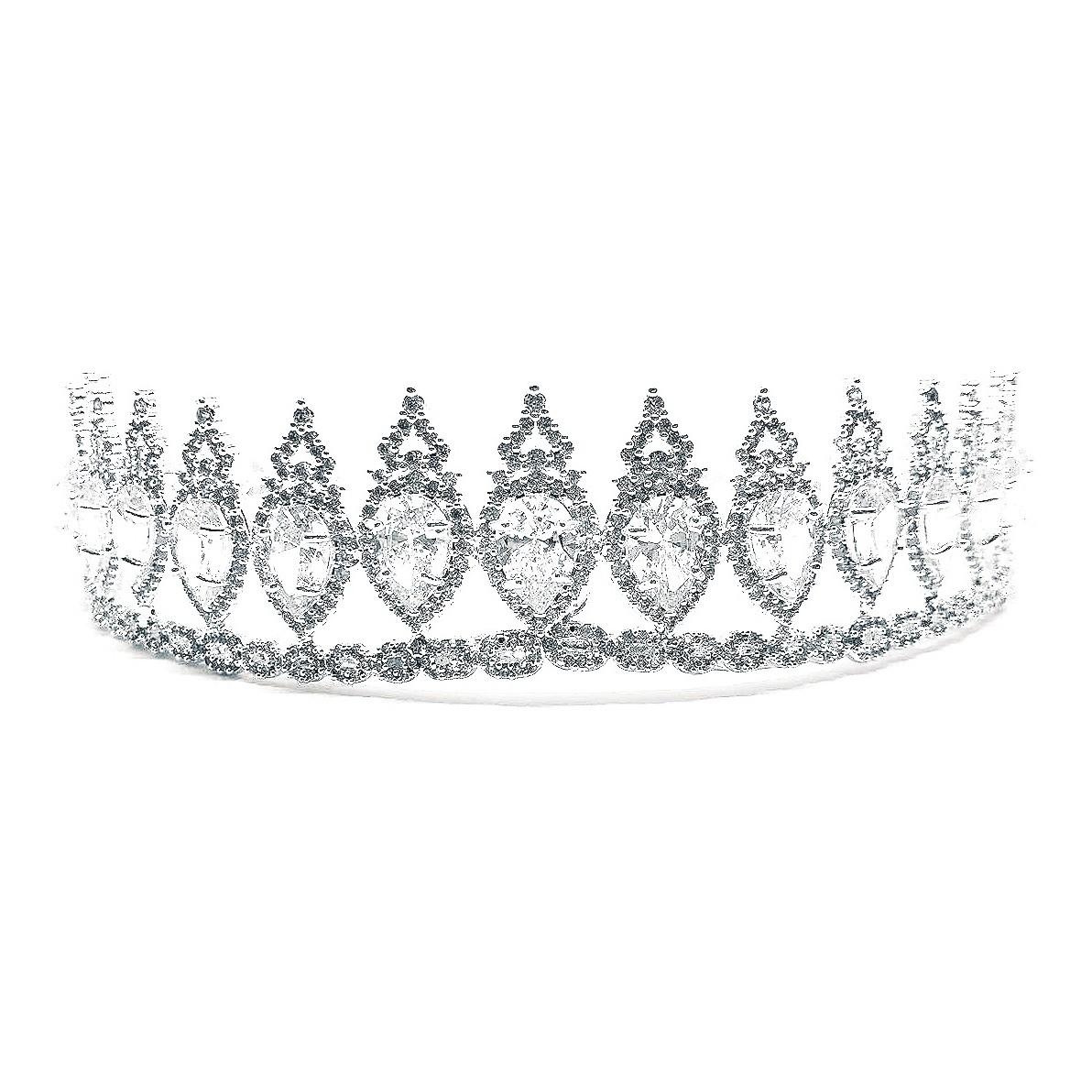 Coroa para Noivas, Cravejada Zircônias Nobres em Forma de Gota e Banho de Prata - Coroa Ándria