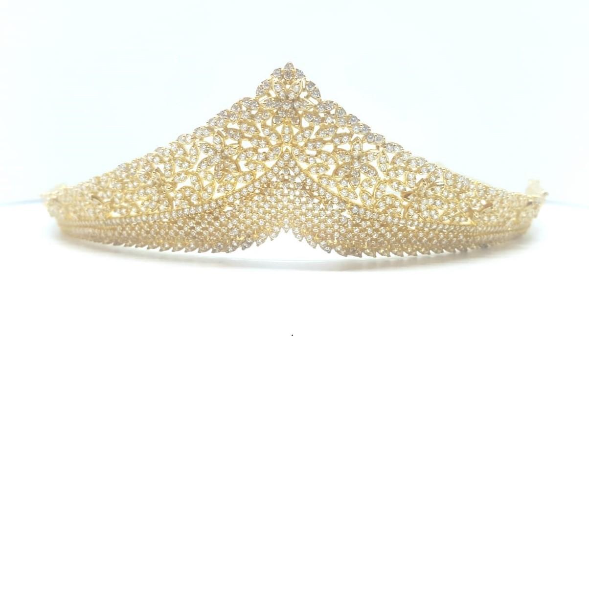 Coroa para Noivas, Debutantes, Banhada a Ouro Rosa, com Microcravações de Zircônias - Coroa Eltz