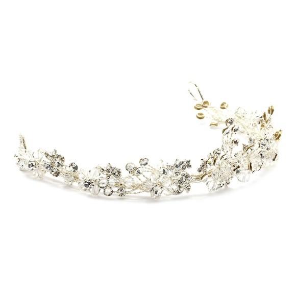 Coroa para Noivas, Fio Maleável Prata, cravejada de Zircônias e Cristais - Coroa Sidney