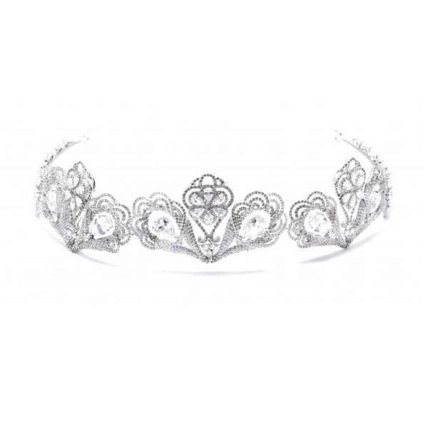 Coroa Paris para Noivas, Microcravação de Zircônias Nobres e Banho de Ródio (Ouro Branco)