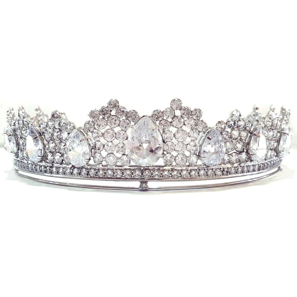Coroa para Noivas, Banhada a Ródio (Ouro Branco), com Microcravações de Zircônias - Coroa Vichy