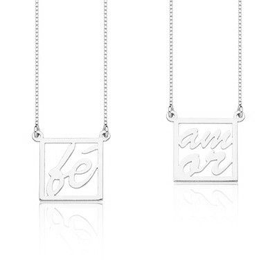 Colar Feminino Amor e Fé, de Prata 925, corrente 60cm