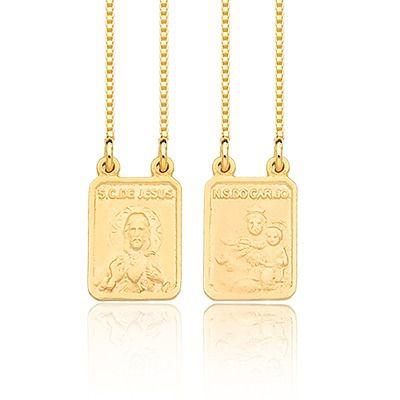 Escapulário Feminino de Prata com banho de Ouro 18k, corrente 45cm