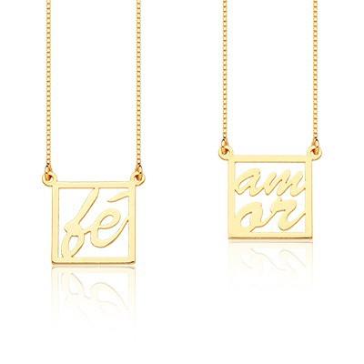 Kit com 10 Colar Feminino Amor e Fé, de Prata com banho de Ouro, corrente 60cm