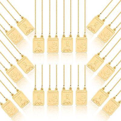 Kit com 10 Escapulários de Prata com banho de Ouro 18k, corrente 45cm