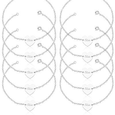 Kit com 10 Pulseiras Femininas Coração, Prata 925, com nomes gravados a laser