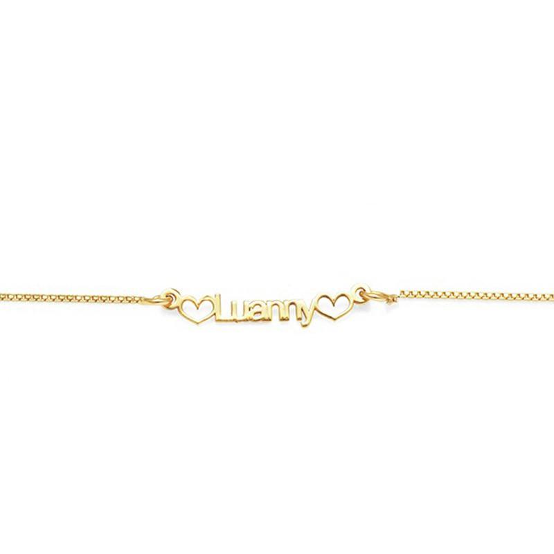 Kit com 10 Pulseiras Femininas Manuscritas a laser, com corações nas laterais, Banho de Ouro 18k