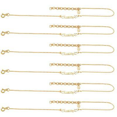 Kit com 6 Pulseiras Femininas Manuscritas a laser, com corações nas laterais, Banho de Ouro 18k