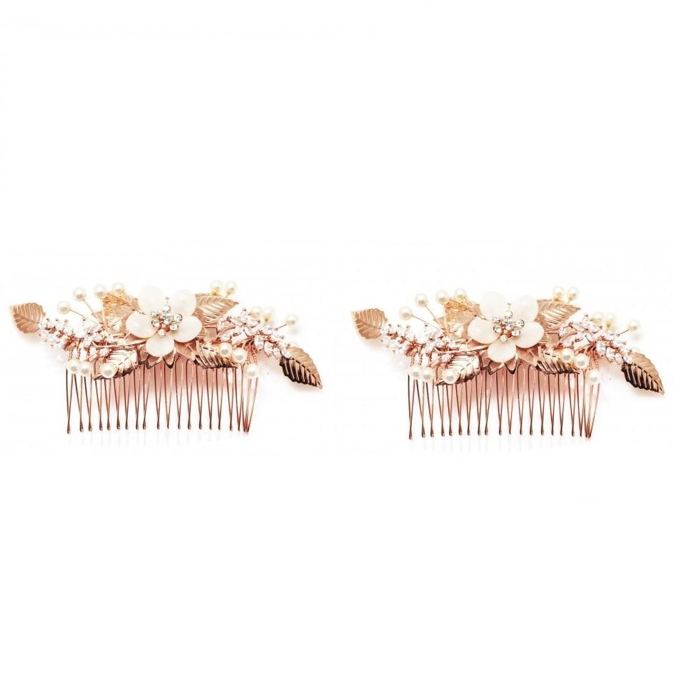 Pentes para Noivas, Banhado a Ouro Rosa, Cravejado em  Zircônias, com pérolas e madrepérolas - Pentes Isis (O par)