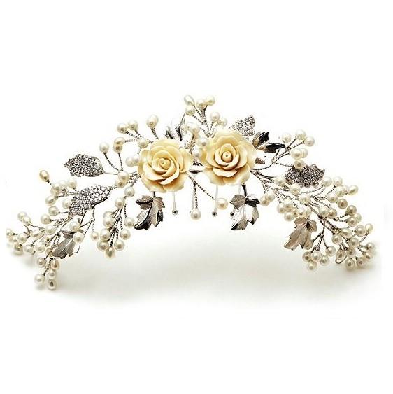 Pente para Noivas, com Microcravações de Zircônias Nobres, Flores Madre Pérolas - Pente Diana
