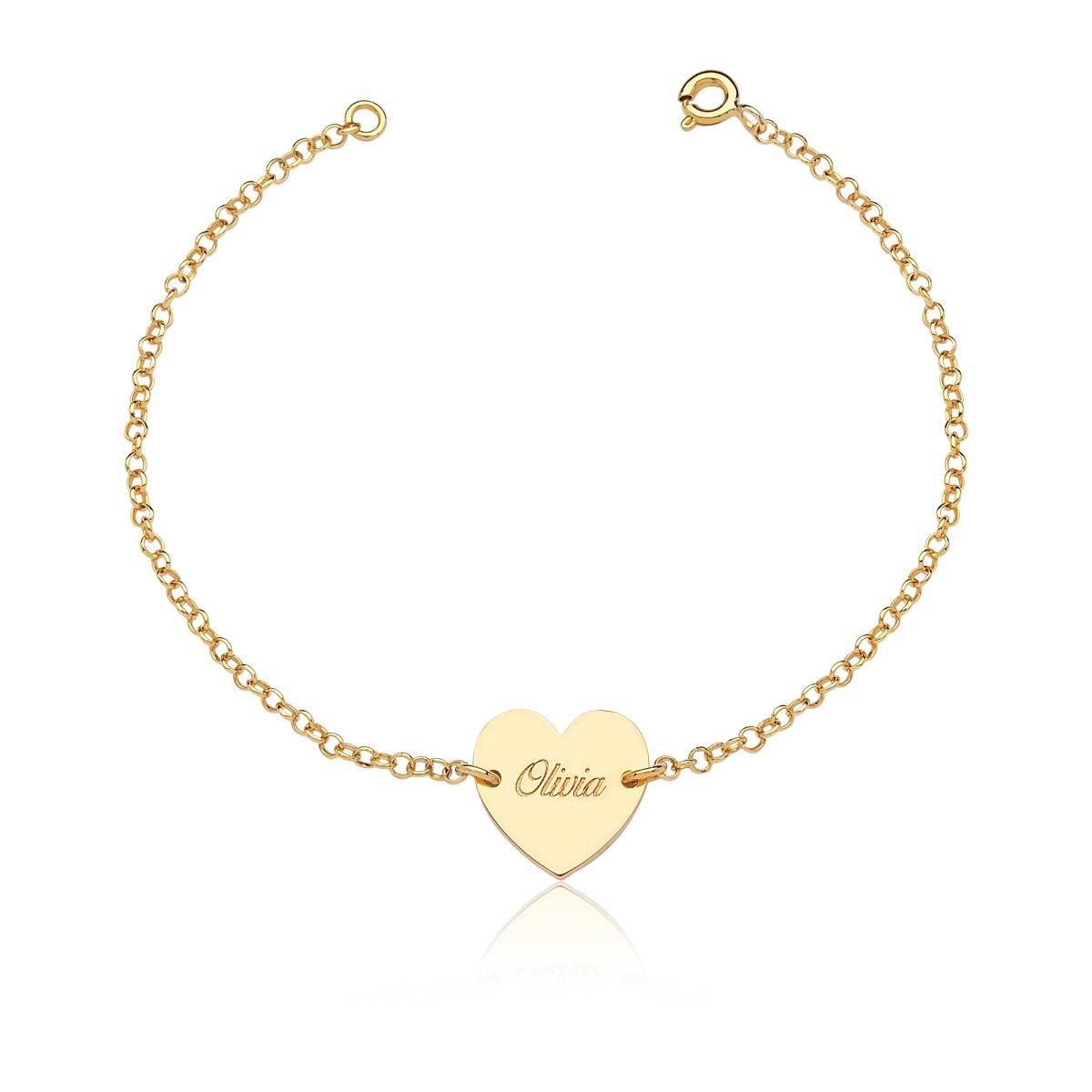 Pulseira Feminina Coração, Banho de Ouro 18k, com nomes gravados a laser