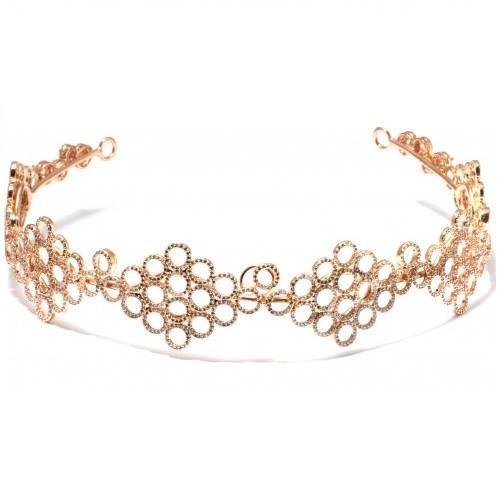 Tiara para Noivas, Banhada a Ouro Rosa, Cravejada em  Zircônias Nobres. Impecável - Tiara Ayla