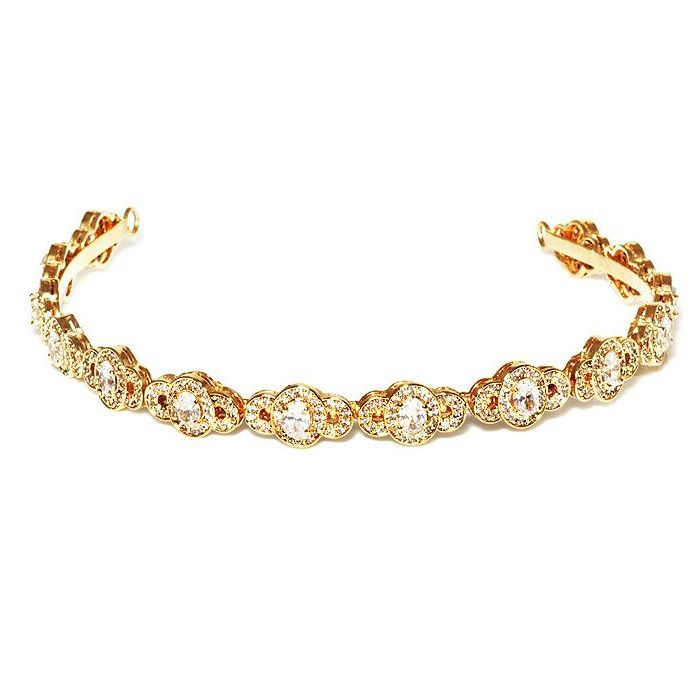 Tiara Para Noivas, Banhada a Ouro 18k, cravejada de Zircônias - Tiara Destin