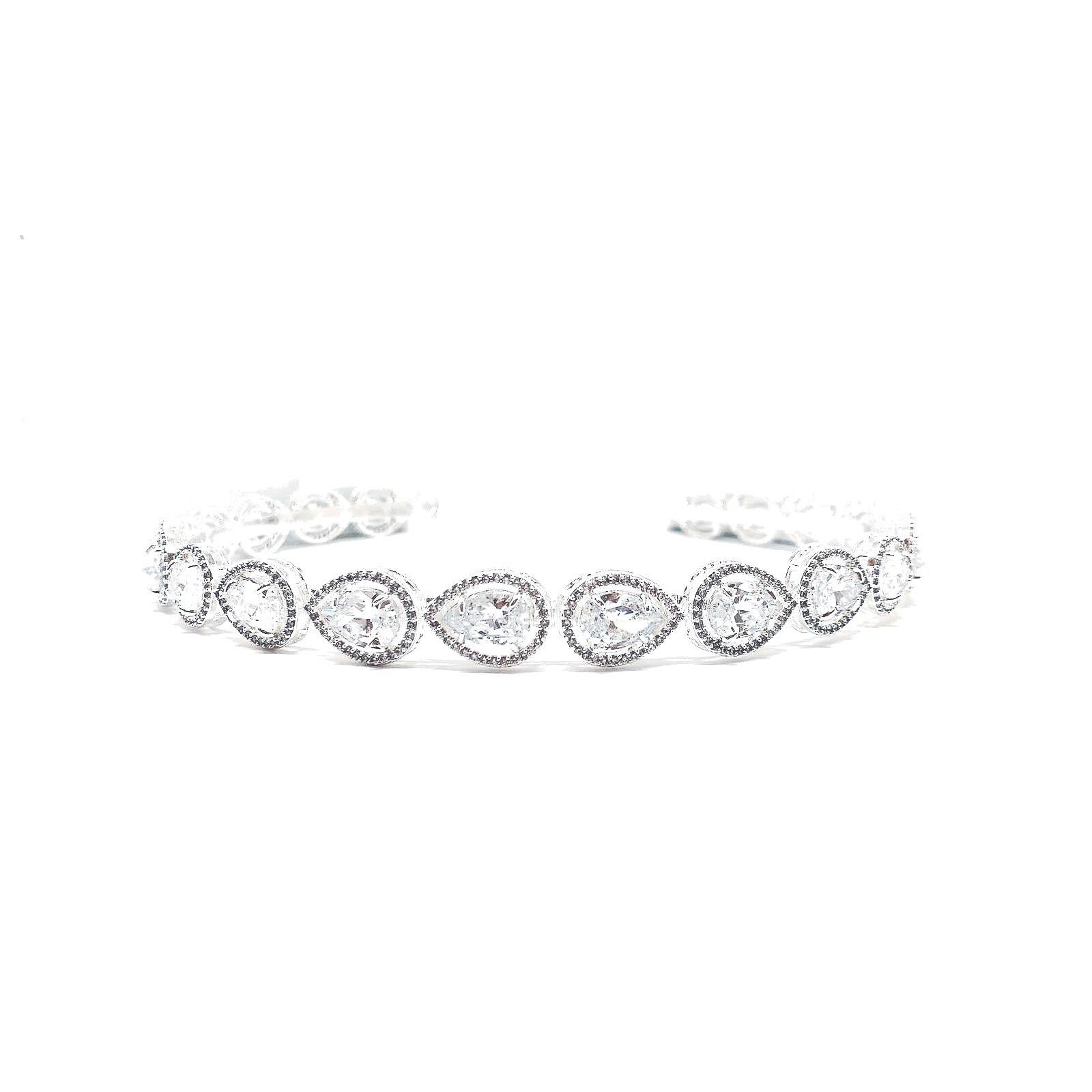 Tiara para Noivas, Prata cravejada de Zircônias - Tiara Florença
