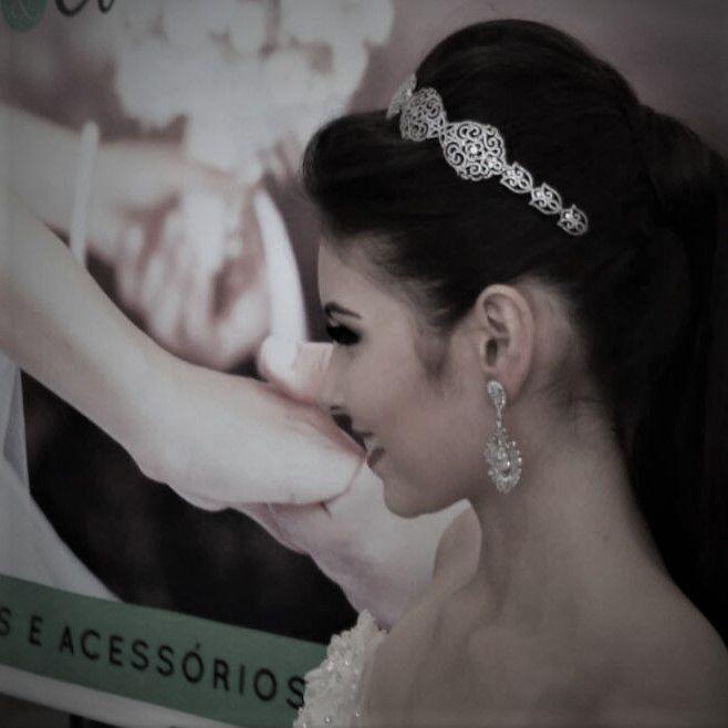 Tiara Marselle para Noivas, Ródio (Ouro Branco), com Microcravação de Zircônias