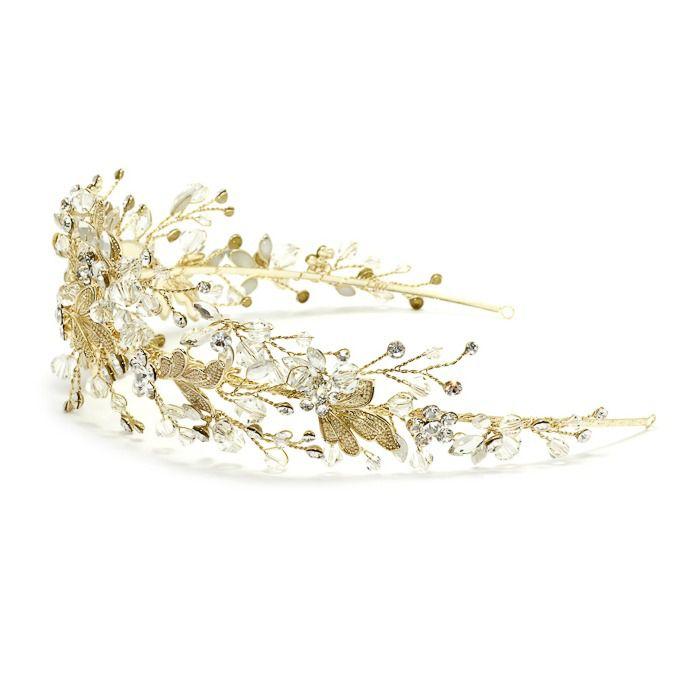 Tiara para Noivas, Fio Maleável Dourado craveja de Zircônias e Cristais - Tiara Miami