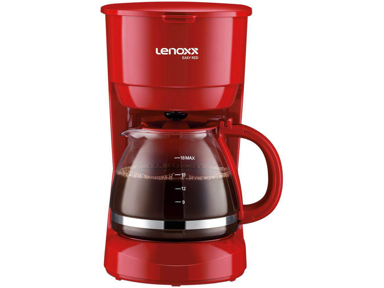 Cafeteira Elétrica Lenoxx Easy Red PCA019 - 18 Cafés Vermelha