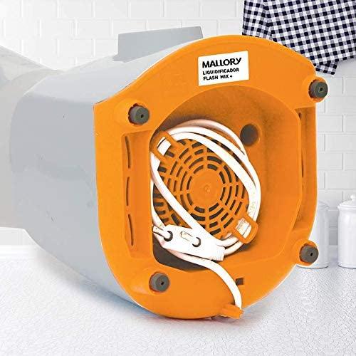 Liquidificador Mallory Flash Mix + 450W 2 velocidades Branco e Laranja