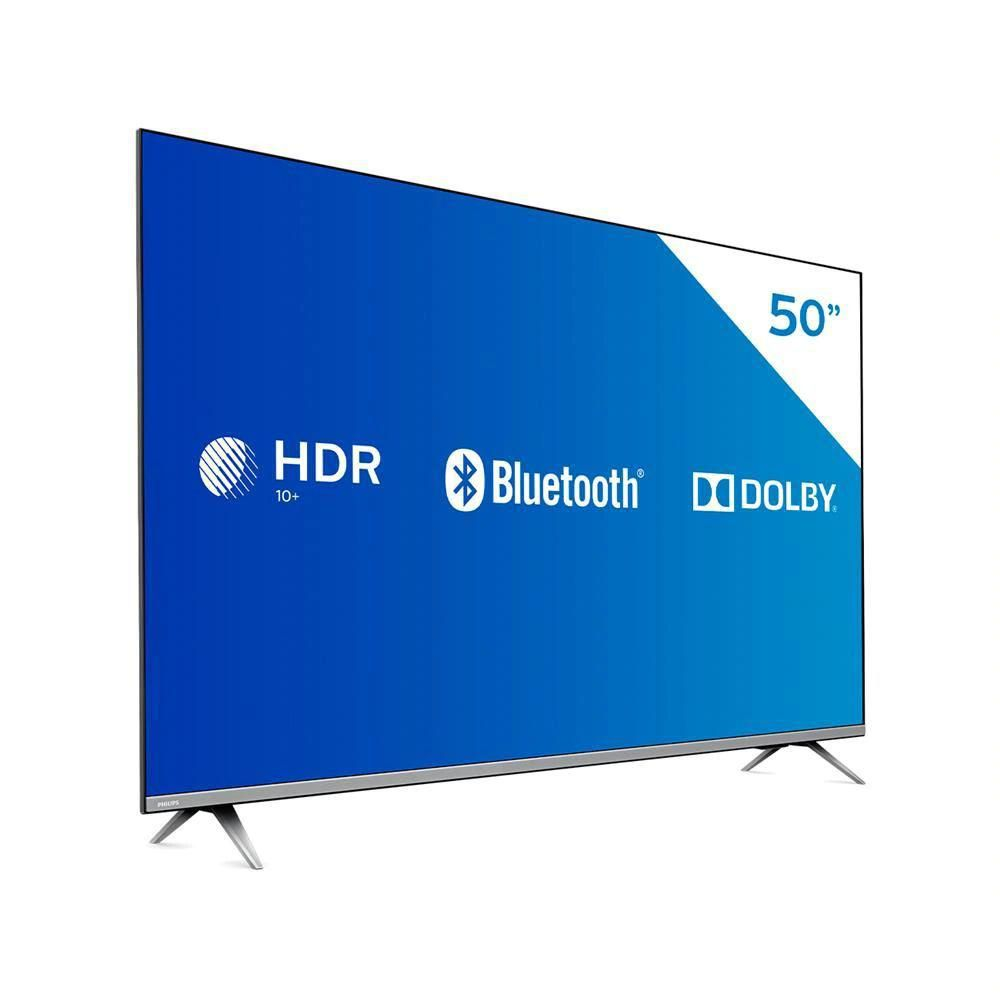 Smart TV LED 50'' Philips 50PUG6654/78 Ultra HD 4k, Design sem Bordas HDR10+ Dolby Vision Dolby Atmos Bluetooth 3 HDMI 2 USB 60 HZ - Prata